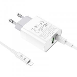 Φορτιστής Ταξιδίου Hoco C80A Rapido Dual USB-C PD και USB Quick Charge 3.0A Λευκός με Καλώδιο Σύνδεσης USB-C σε Lightning 6931474727879