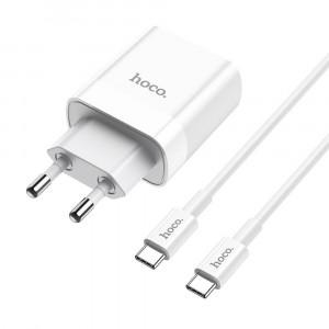 Φορτιστής Ταξιδίου Hoco C80A Rapido Dual USB-C PD και USB QC3.0 18W Λευκός με Καλώδιο Σύνδεσης USB-C σε USB-C 6931474727886