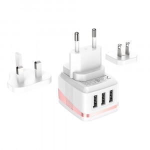 Φορτιστής Ταξιδίου Hoco C83 Detachable pin Triple USB 2.4A Λευκός με Αποσπώμενη Πρίζα EU / UK / US 6931474729330
