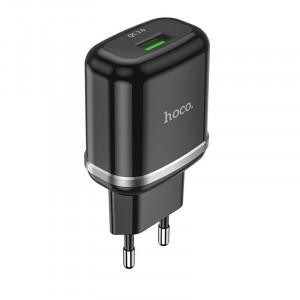 Φορτιστής Ταξιδίου Hoco N3 Vigour με USB 5V QC 3.0A Μαύρο 6931474729347