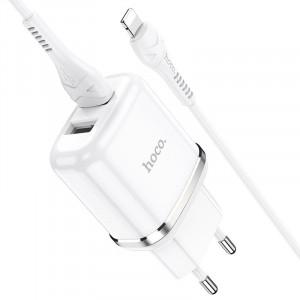 Φορτιστής Ταξιδίου Hoco N4 Aspiring με 2 Εξόδους Φόρτισης USB 5V 2.4A Λευκός με Καλώδιο Lightning 1μ 6931474731029