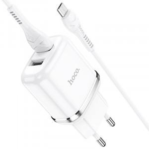 Φορτιστής Ταξιδίου Hoco N4 Aspiring με 2 Εξόδους Φόρτισης USB 5V 2.4A Λευκός με Καλώδιο Micro USB 1μ 6931474731043