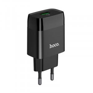 Φορτιστής Ταξιδίου Hoco C72Q Glorious USB QC3.0A 18W Μαύρος 6931474732507
