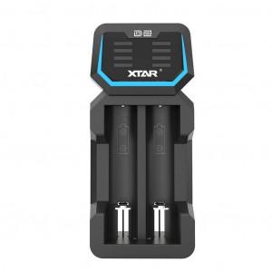 Φορτιστής Μπαταριών Βιομηχανικού Τύπου Xtar D2 USB, 2 Θέσεων με Ένδειξη Επιπέδου Φόρτισης 6952918351115