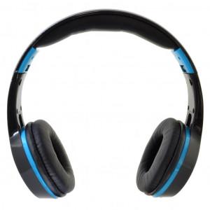 Bluetooth Ακουστικά Stereo Foldable Komc KM-6200 Μαύρα - Ανοιχτό Μπλε με Μικρόφωνο και Υποδοχή Audio In 6956398302087