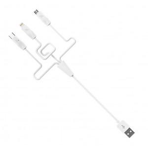 Καλώδιο σύνδεσης Hoco X1 3 σε 1 USB σε Micro-USB, Lightning, Type-C Λευκό 1,0 μ. 6957531032069
