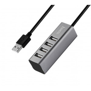 USB 2.0 Hub Hoco HB1 4 Θέσεων Γκρι 6957531038139