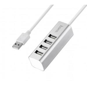 USB 2.0 Hub Hoco HB1 4 Θέσεων Ασημί 6957531038146