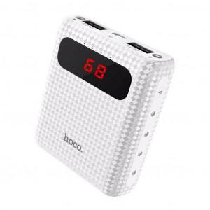 Power Bank Hoco B20 Mige 10000 mAh Fast Charging με 2 Θύρες USB, Φακό και LED Ενδείξεις Λευκό 6957531049630