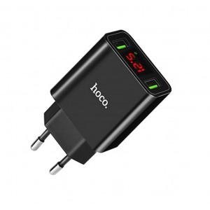 Φορτιστής Ταξιδίου Hoco C25A Cool Dual USB 5V/2.2A Μαύρος 6957531068426