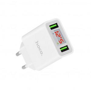 Φορτιστής Ταξιδίου Hoco C25A Cool Dual USB 5V/2.2A Λευκός 6957531068433