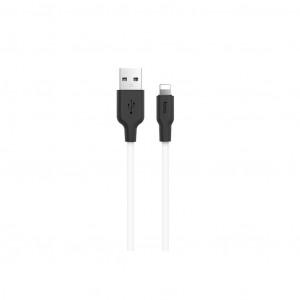 Καλώδιο Σύνδεσης Hoco X21 Σιλικόνης USB σε Lightning 2.0A Fast Charging 1μ. Μαύρο - Λευκό 6957531071365