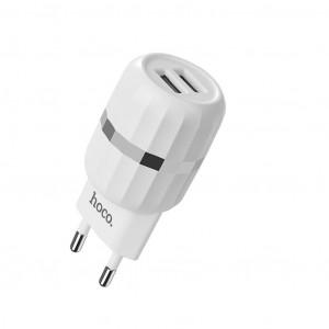 Φορτιστής Ταξιδίου Hoco C41A Wisdom Dual USB Fast Charging 5V/2.4A 12W Λευκός 6957531080572