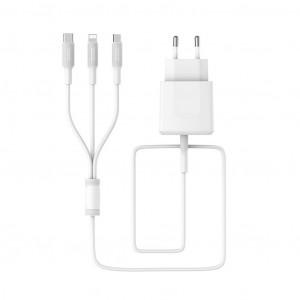 Φορτιστής Ταξιδίου Borofone BA3A Ezplug 3-σε-1 Dual USB 5V/2.4A Λευκός με καλώδια Micro USB, Type-C & Lightning 6957531082897