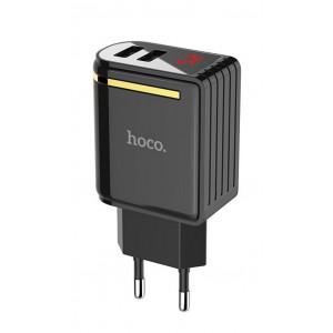 Φορτιστής Ταξιδίου Hoco C39A Enchanting Dual USB Fast Charging 5V/2.4A 12W Μαύρος 6957531084891