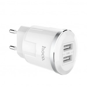 Φορτιστής Ταξιδίου Hoco C38A Thunder Power Dual USB Fast Charging 5V/2.4A 12W Λευκός 6957531085089
