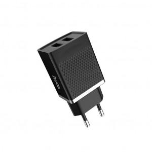 Φορτιστής Ταξιδίου Hoco C43A Vast Power Dual USB 2.4A 12W Μαύρος 6957531088455
