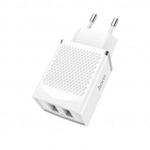 Φορτιστής Ταξιδίου Hoco C43A Vast Power Dual USB 2.4A 12W Λευκός 6957531088462