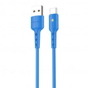Καλώδιο σύνδεσης Hoco X30 USB σε Type-C Fast Charging 2.0A Μπλε με LED Ένδειξη 1,2 μ. 6957531091196