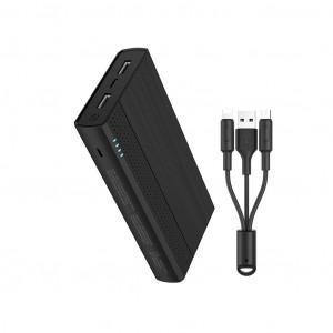 Power Bank Hoco J33A Cool Freedom 20000 mAh με Micro-USB & Type-C 5V/2A Fast Charging 2 εξόδων USB και ένδειξη LED Μαύρο 6957531091226