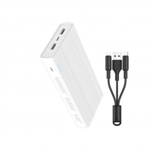 Power Bank Hoco J33A Cool Freedom 20000 mAh με Micro-USB & Type-C 5V/2A Fast Charging 2 εξόδων USB και ένδειξη LED Λευκό 6957531091233