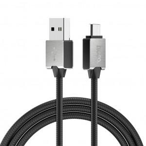 Καλώδιο σύνδεσης Κορδόνι Hoco U49 Refined Steel USB σε Micro-USB με Ενισχυμένες Μεταλλικές Επαφές 1.2 μ. Μαύρο 6957531091349