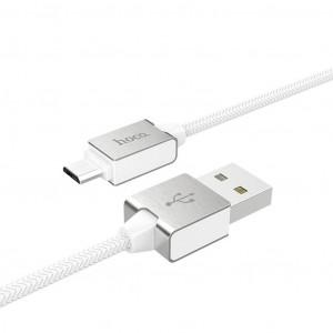 Καλώδιο σύνδεσης Κορδόνι Hoco U49 Refined Steel USB σε Micro-USB με Ενισχυμένες Μεταλλικές Επαφές 1.2 μ. Λευκό 6957531091356