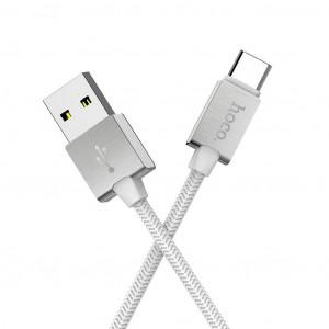 Καλώδιο σύνδεσης Κορδόνι Hoco U49 USB σε Type-C με Ενισχυμένες Μεταλλικές Επαφές 1.2 μ. Λευκό 6957531091370