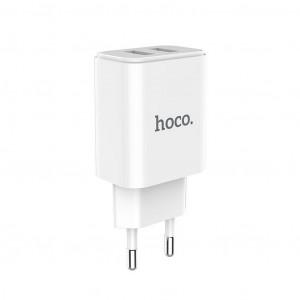 Φορτιστής Ταξιδίου Hoco C62A Victoria Dual USB Fast Charging 5V/2.1A Λευκός 6957531094944