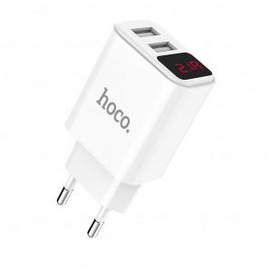Φορτιστής Ταξιδίου Hoco C63A Victoria Dual USB Fast Charging 5V/2.1A Λευκός 6957531094968