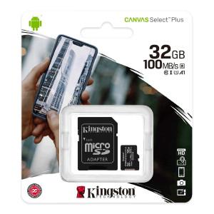 Κάρτα Μνήμης Kingston Canvas Select Plus+ MicroSDHC Class 10 με SD Αντάπτορα έως 100MB/s SDCS2/32GB 740617298680