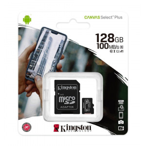 Κάρτα Μνήμης Kingston Canvas Select Plus+ MicroSDXC Class 10 με SD Αντάπτορα έως 100MB/s SDCS2/128GB 740617298703