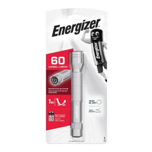 Φακός Energizer Metal LED Light 60 Lumens με 2 AA Μπαταρίες Ασημί 7638900340419
