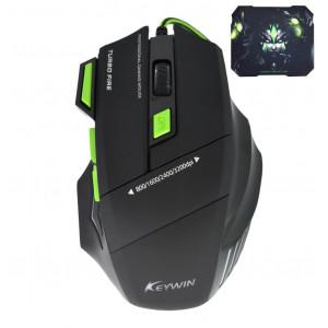 Ενσύρματο Ποντίκι Gaming Mouse Keywin 7D 7 Πλήκτρων 3200 DPI με Mousepad Μαύρο - Πράσινο 8681395311005
