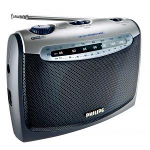 Φορητό Αναλογικό Ραδιόφωνο FM/MV Philips AE2160 με Λειτουργία Μπαταρίας - Ρεύματος  Γκρί - Ασημί 8710895738583