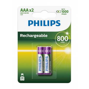 Rechargeable Battery Philips HR03 800 mAh size AAA Pcs. 2 8710895962889