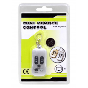 Universal Keychain Remote Control for TV Silver with Battery CR2025 1 Pcs 8711252109725