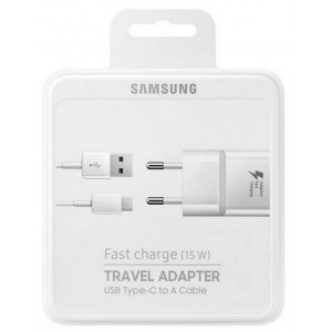 Travel Charger Samsung EP-TA20EWECGWW with Detachable Cable USB Type-C White 2000 mAh Fast Charge (15W) 8806088592114