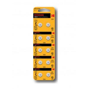 Buttoncell Kodak Max Super Alkaline LR1130 AG10 389 189 CAT30414013 Τεμ. 10 με Διάτρητη Συσκευασία 887930414011