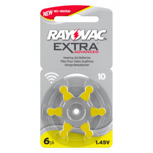 Hearing Aid Batteries Rayovac 10 Extra Advanced 1.45V Pcs. 6 96127001