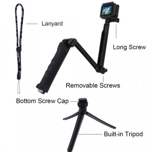 Selfie Stick Monopod 3-Way for GoPro and Photograph Machines Extendible Black (Closed 20cm, with Extention 62cm ) 21862