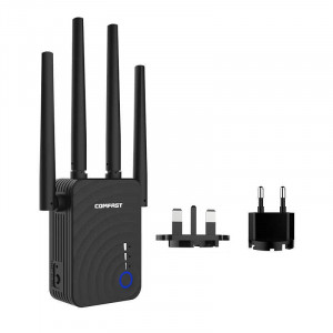 Wifi Repeater / Extender Dual Band Hi-Speed Comfast CF-WR754AC 1200Mbps Τετραπλής Κεραίας. Με Ευρωπαϊκή & UK πρίζα 6955410014922