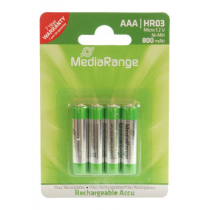 MediaRange επαναφορτιζομενη μπαταρια AAA(LR03) στα 800mAh, 4 τεμαχιων