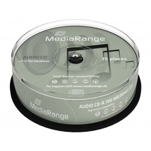MediaRange AUDIO CD-R 52x 80min Cake 25