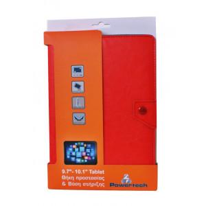 POWERTECH Universal θήκη και βάση για Tablet 9.7-10.1 inch, Red