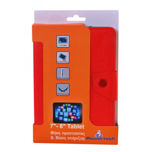 POWERTECH Universal θηκη και βαση για Tablet 7-8 inch, Red