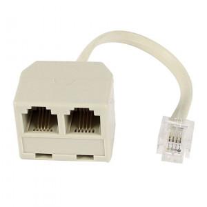 Powertech adapter 6p4c 1x αρσενικο 0.20cm σε 2 x θηλυκο, white , RJ11