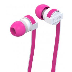YISON ακουστικά HANDSFREE + RΕΜΟΤΕ (ON/OFF) - PINK