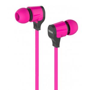 YISON ακουστικά HANDSFREE + VOLUME CONTROL (ON/OFF) - PINK