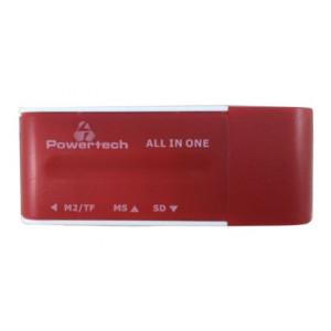 POWERTECH Mini Card Reader, Red